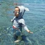ベビー水着男女兼用スイムウェア子どもオールインワン連体服男児女児可愛いサメ柄ロンパース