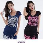 【メール便対応】 ズンバウェア トップス Tシャツ シースルーを使い カップ付  エアロビクスウェア ダンスウェア レディース opemine