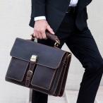 ビジネスバッグ 本革 メンズ 大容量 2室 2way ブリーフケース 通勤鞄 アンティーク 15インチPC収納 ショルダーバッグ
