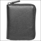 ラウンドファスナー 短財布 メンズ 本革 レザー 小銭入れ付き ブラック 黒色 ショートウォレット