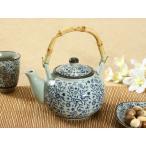急須(青い花集い)大容量 大きい アウトレット 旅館 お茶 かわいい おしゃれ 軽い カラバリ 花柄 おしゃれ