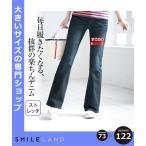パンツ ブーツカット 大きいサイズ レディース LL 2L4L6L10L すごのび ストレッチ デニム ブーツ カット ゆったり太もも 年中  ウエスト73〜122cm ニッセン