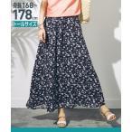 スカート トールサイズ 花柄プリントフレアーマキシ