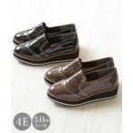 シューズ カジュアル 大きいサイズ レディース スタッズ デザイン 厚底 ワイズ4E 靴 23.0〜23.5/24.0〜24.5/25.0〜25.5/26.0〜26.5cm ニッセン nissen