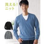 セーター ニット カジュアル メンズ 洗濯機で洗える 薄手 Vネック 冬 トップス M/L/LL ニッセン