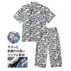 パジャマ メンズ リップル 総柄 プリント 半袖 前開き シャツ +7分丈 パンツ 3L/4L ニッセン nissen