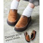 靴 大きいサイズ レディース ゆったり幅 軽量 かかとが踏める ステッチデザイン サイドゴア スリッポン シューズ ワイズ4E 26.0〜26.5cm ニッセン nissen