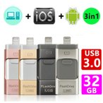 USB3.0メモリ 32GB USBメモリ iPhone/Android/PC対応 フラッシュドライブ iPhone iPad Lightning micro Android パソコン用USBメモリ最安値