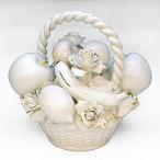 イタリア製 薔薇 陶花 置物 ハンドメイド 大輪 ホワイト ゴールド アレンジメント フルーツ cog-218fr-wg