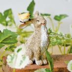 小鳥とうさぎ (置物 オーナメント 庭 かわいい 動物 うさぎ オブジェ ガーデニング 飾り)