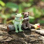 枝の上でオカリナ(カエル&くま) ミニチュア ガーデンオーナメント 置物 オーナメント 庭 かわいい 動物