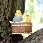 オカメインコのお風呂 ミニチュア ガーデンオーナメント 置物 オーナメント 庭 かわいい 動物