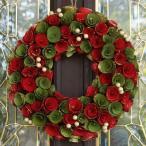 クリスマスリース   レッドバジルクリームベリー  ( 玄関 おしゃれ ドア x'mas  飾り 装飾 )