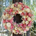 ナチュラルリース −イエローピンクフラワー- 33cm (リース 花 バラ 玄関 おしゃれ 春 インテリア 壁掛)