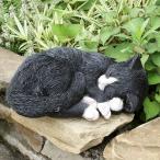ショッピングオーナメント 眠り猫の置物  -黒ネコ- (置物 オーナメント 庭 かわいい 動物 オブジェ ガーデニング 飾り)
