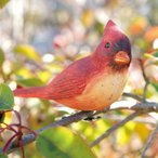 ショッピングオーナメント 小鳥クリップガーデンオーナメント -赤-  (置物 オーナメント 庭 かわいい 動物 オブジェ ガーデニング 飾り)