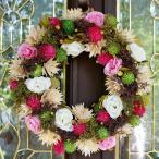 ナチュラルリース −ホワイトピンクローズ- 32cm (リース 花 バラ 玄関 おしゃれ 春 インテリア 壁掛)
