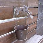 キャットハングポット −ブラウン− (ブリキ 鉢 ガーデニング ポット 鉢台 ポットフット 壁掛け 猫)