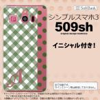 ショッピングスマホケース 509SH スマホケース シンプルスマホ3 ケース シンプルスマホ3 イニシャル チェック・ドット 白×緑 nk-509sh-1523ini