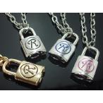 (セール)ネックレス 定番メンズ・ロックR(鍵、南京錠)ゴールド×黒