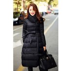 送料無料2015新作レデイースファッション大人気のダウン90%美しいAラインロングコート黒L相当