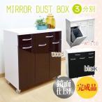 ショッピングダストbox ダストボックス ダストBOX くずかご ごみ箱 ゴミ箱 キャスター付き鏡面ダストボックス 3分別