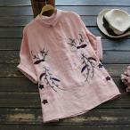 シャツ ブラウス 花柄 刺繍 春夏 半袖 プルオーバー トップス レディースj38396