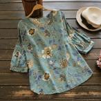 シャツ ブラウス 大きいサイズ 春夏 花柄 五分袖  プルオーバー トップス 通勤 オフィス レディースj53456