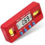 デジタルレベル 電子水平器 デジタル角度計 デジタル水平器 傾斜計 LCD液晶画面 DIY 壁 木材 工具 便利 水平器 万能 高性能 (赤)