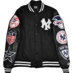 ショッピングスタジャン スタジャン スタジアムジャケット  ワッペン付き 袖:合成皮革 バック無地 ニューヨークヤンキース MAJESTIC(マジェスティック)