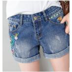 ショッピングショート ショートパンツ デニム 刺繍 ブルー パンツ ショート デニムショートパンツ レディース