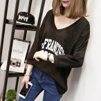 ショッピングカットソー トップス カットソー Tシャツ ロゴ カレッジ Vネック レディース 長袖 八分袖 ブラック ホワイト M L XL