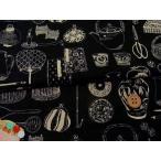 和柄コットン生地 匠 日本の伝統調度品 黒