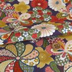 布がたり ヤフー店で買える「和柄コットン生地 豪華春秋花(深紫)」の画像です。価格は83円になります。