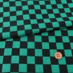 ムラ糸モーリークロス 手捺染 市松柄2cm角(黒/緑)