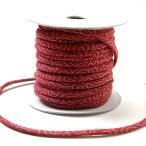 木綿の丸ひも・小紋柄・2ミリ(実寸約2-3ミリ) 渦巻き・えんじ
