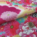 一越ちりめん・扇に菊と牡丹 (赤紫)