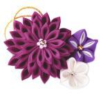 手作りキット 正絹つまみ細工 煌めきのブローチ(紫)