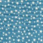 アウトレット価格/綿二重ガーゼ・ダブルガーゼプリント/星(2) デニム調プリント オールドブルー系 4色あります 1m単位で切り売りいたします