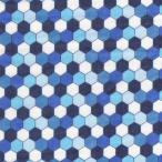 アウトレット価格/綿二重ガーゼ・ダブルガーゼプリント/NEWサッカーボール ブルー系 4色あります 1m単位で切り売りいたします