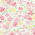 期間限定特価 ダブルガーゼプリント/水彩タッチ フラワー3 ピンク系 3色 1m単位 ポイント