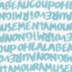 ダブルガーゼプリント/アルファベット/エメラルドグリーン系/6色/1m単位/ポイント/アウトレット