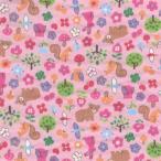 アウトレット価格/ふんわりマシュマロ触感!/ダブルガーゼプリント/動物ランド(7)(Wガーゼ ヴァージョン) ピンク系 2色あります 1m単位で切り売りいたします