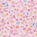 期間限定特価 ダブルガーゼプリント/春の足あと2 ピンク系 4色 1m単位 アウトレット ポイント