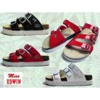 エドウィン Miss EDWIN コンフォートサンダル フットベットサンダル 厚底フラット 3本ベルト サンダル レディース 靴