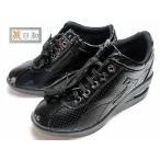 アシックス asics 旅日和 レースアップウォーキングシューズ ブラックエナメル レディース・靴