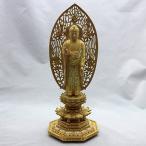 仏像(浄土宗) 柘植 切金淡彩 舟立弥陀 5.0寸 八角座 飛天光背