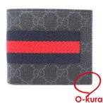 中古未使用品 グッチ 二つ折り 財布 GGスプリーム