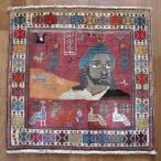 クーポンで40%OFF!ギャッベ ギャベ 座布団 カシュガイ族のミニ絨毯 63×65cm