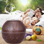 Sanvu 130ML 卓上加湿器 アロマディフューザー,円形の空の木製の穀物の空気加湿器、多彩な香りの拡散器 静音/乾燥、花粉症などの軽減に最適 M